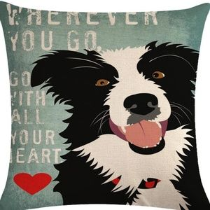 Pillow Cover- NEW-Border Collie Dog Love